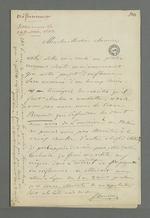 Lettre de Demarre adressée à Pierre Charnier dans laquelle il répond à celle dans laquelle Pierre Charnier lui annonçait le succès de leur entreprise commune, à savoir de faire passer commande d'oriflammes aux curés des diocèses auprès des employés de la Fabrique lyonnaise.