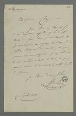 Lettre adressée à Pierre Charnier par Sudon dans laquelle il le prie de convenir d'un rendez-vous avec la commission provisoire de répartition des tâches realatives à la commande d'oriflammes des curés des diocèses auprès des employés de la Fabrique lyonnaise.