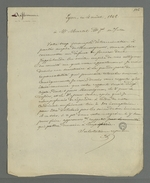 Lettre de Pierre Charnier adressée à Charles Martel, membre de la commission provisoire de répartition des tâches relatives à la commande d'oriflammes des curés des diocèses auprès des employés de la Fabrique lyonnaise, dans laquelle il lui reproche d'avoir envoyé trop vite au Cardinal de Bonald le rapport rédigé en commun.