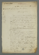 Lettre de Pierre Charnier adressée au cardinal de Bonald dans laquelle il lui soumet une observation au sujet de la circulaire destinée aux curés des diocèses, rédigée par la commission provisoire et de répartition de la commande d'oriflammes auprès des employés de la Fabrique lyonnaise.