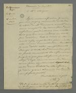 Lettre de Pierre Charnier adressée à Chipier dans laquelle il effectue une demande de révocation de la commission provisoire de répartition des tâches relatives à la commande d'oriflammes des curés des diocèses auprès des employés de la Fabrique lyonnaise.