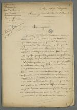 Copie au propre d'une adresse au comte de Chambord accompagnant l'envoi d'un tableau, suivie d'une lettre de Pierre Charnier adressée à Demarre.