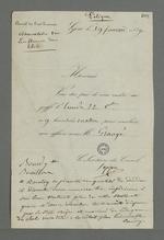 Convocation adressée à Pierre Charnier par Seppe, président du Conseil des Prud'hommes, pour qu'il se rende au greffe du Conseil, pour concilier une affaire, concernant Bourdy, dévideur, et Bouillon.