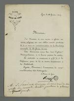 Lettre de Edouard Réveil, maire de Lyon, adressée à Pierre Charnier dans laquelle il l'invite à se rendre au service religieux célébré en commémoration de la Révolution de février.