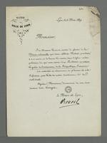 Lettre de Edouard Réveil, maire de Lyon, adressée à Pierre Charnier dans laquelle il l'invite à se rendre au service religieux célébré en commémoration de l'avènement de la République.