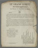 Communiqué du comité électoral napoléonien aux électeurs du Rhône : présentation des candidats aux élections législatives.