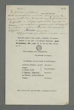 Convocation à la réunion électorale du comité du droit national, adressée à Pierre Charnier, suivie d'une note de ce dernier qui fait office de compte-rendu de la séance.