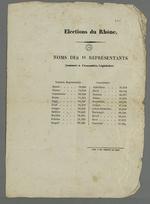 Annonce officielle des onze représentants du département du Rhône, nommés à l'Assemblée Législative.
