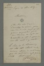Lettre de Demarre adressée à Pierre Charnier dans laquelle il l'informe de la date d'une réunion qui aura lieu chez Colrat, concernant la médaille commémorative de l'abbé Genoude.
