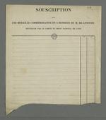 Formulaire vierge pour la souscription pour une médaille commémorative en l'honneur de l'abbé Genoude, recueillie par le comité du droit national.