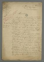 Lettre de la mère d'Auguste Curt, veuve du commandant Curt, rédigée par Pierre Charnier, et adressée au procureur de la république dans laquelle elle l'implore de bien vouloir hâter la procédure de jugement de son fils.
