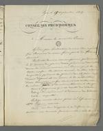 """Lettre de Pierre Charnier adressée au """"conseiller Jurie"""", dans laquelle il lui fait part de l'issue du second conseil de guerre au cours duquel fût jugé Curt, inculpé après l'insurrection de juin."""