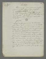 Notes de Pierre Charnier concernant Duminge, témoin à charge dans l'affaire Laloge, en vue de l'appel à sa condamnation pour avoir participé au dépavage durant l'insurrection de juin 1849, suivies de considérations concernant les conditions de détention préventive.