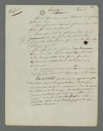 Ebauche de plaidoirie rédigée par Pierre Charnier, en vue de l'appel à la condamnation de Laloge père, condamné en première instance pour avoir participé au dépavage et au barricadage durant l'insurrection de juin 1849