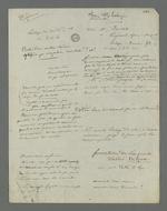 Notes diverses de Pierre Charnier en vue de l'appel à la condamnation de Laloge père, condamné en première instance pour avoir participé au dépavage et au barricadage durant l'insurrection de juin 1849.