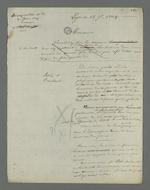 Ebauche de plaidoirie rédigée par Pierre Charnier, en vue de l'appel à la condamnation de Laloge père, condamné en première instance pour avoir participé au dépavage et au barricadage durant l'insurrection de juin 1849.