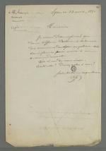 Lettre de Pierre Charnier adressé à Lançon, avocat de Virginie Chabre, ancienne apprentie à l'atelier communauté Providence Jésus-Marie de Fourvière, dans l'affaire qui l'oppose à ses anciennes employeuses.