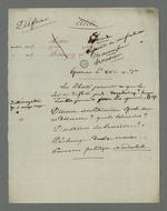 Notes de Pierre Charnier concernant l'interrogatoire d'Etienne Bacot, accusé de vagabondage et de participation à l'insurrection du