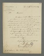 Lettre du général Gémeau adressée à Pierre Charnier dans laquelle il l'informe de l'impossibilité d'accepter sa requête d'obtenir un visa qui lui permette de visiter les détenus Bacot et Fritz qui l'ont choisi comme défenseur à leur procès en conseil de guerre, attendu que Pierre Charnier n'est pas avocat.