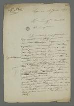 Brouillon d'une lettre de Pierre Charnier adressée au général Castellane dans laquelle il le remercie de bien vouloir représenter la défense de Fritz en appel au jugement du conseil de guerre, au cours duquel il s'est vu condamné à cinq ans de détention pour avoir participé à l'insurrection de