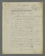 Lettre de Pierre Charnier adressée au commandant Dalpuget dans laquelle il lui communique une formule qu'il lui demande d'apostiller sur la demande de grâce de Fritz auprès du président de la république.