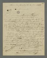 Lettre de Bézenac, détenu à la prison de Perrache, adressée à son défenseur Pierre Charnier, suivie de la réponse de ce dernier, datée du