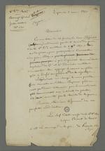 Lettre adressée à Pierre Charnier dans laquelle on le prie d'informer le détenu Bézenac dont il assure la défense que sa requête auprès du général Castellane d'appuyer son recours en grâce n'était pas acceptée pour le moment.