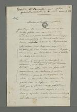 Lettre de Demarre adressée à Pierre Charnier en réponse aux remerciements que celui-ci lui a adressé pour avoir joué le rôle d'intermédiaire entre lui et le comte de Chambord pour le don d'un tableau.