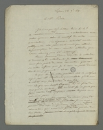Lettre de Pierre Charnier adressée à Petit, détenu à Roanne pour avoir assisté à l'enterrement de son voisin Recordan, cérémonie au cours de laquelle certains camarades du défunt ont manifesté des signes de provocation politique.