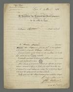 Lettre de Félix Balleidier, vice-président du Conseil des Prud'hommes, adressée à Pierre Charnier, suivie d'une note de Pierre Charnier.