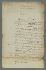 Demande d'enquête adressée au procureur de la République, rédigée par Pierre Charnier pour le compte de l'épouse d'André Gabriel Perret, accusé d'avoir participé à l'insurrection de juin 1849.
