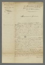 """Lettre de Pierre Charnier adressée au général Gémeau dans laquelle il plaide la cause de Pétillot, propriétaire qui, ayant fui dans la campagne par peur des """"communistes"""" fut pris pour un insurgé et passé à tabac par les soldats de garde."""
