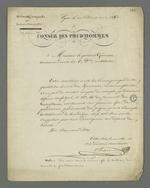 """Lettre de Pierre Charnier adressée au général Gémeau dans laquelle il lui transmet en guise de remerciement l'article qu'il définit comme son """"premier essai de plaidoierie"""", insérée dans le numréo 66 du journal"""