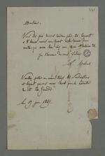 Lettre de Colrat, adressée à Pierre Charnier dans laquelle il l'informe de la date et du lieu de la réunion concernant la médaille commémorative de l'abbé Genoude, le priant également d'apporter l'argent collecté.