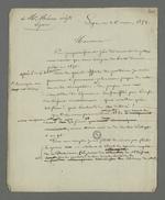 """Lettre de Pierre Charnier adressée au tisseur Mémo, auteur d'un essai communiqué à Pierre Charnier en 1851, essai qu'il définit comme """"un échantillon de l'ignorance boursouflée par l'ivresse de l'orgueil révolutionnaire"""", et dont il effectue la critique."""