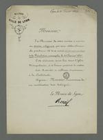 Invitation de Réveil, maire de Lyon, à assister au service religieux en commémoration de la Révolution de 1848.