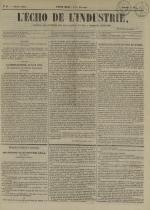 L'Echo de l'industrie : journal des intérêts des travailleurs et de la fabrique lyonnaise, N°29