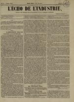 L'Echo de l'industrie : journal des intérêts des travailleurs et de la fabrique lyonnaise, N°31
