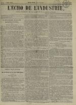 L'Echo de l'industrie : journal des intérêts des travailleurs et de la fabrique lyonnaise, N°46