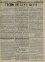 L'Echo de l'industrie : journal des intérêts des travailleurs et de la fabrique lyonnaise, N°47