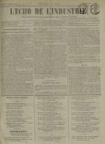 L'Echo de l'industrie : journal des intérêts des travailleurs et de la fabrique lyonnaise, N°51