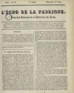 L'Echo de la fabrique, N°11, pp. 1