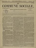 La Commune sociale : journal mensuel des travailleurs, N°1