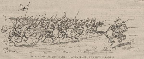 Exercice des cosaques du Don. - Sotnia chargeant en ordre de bataille.