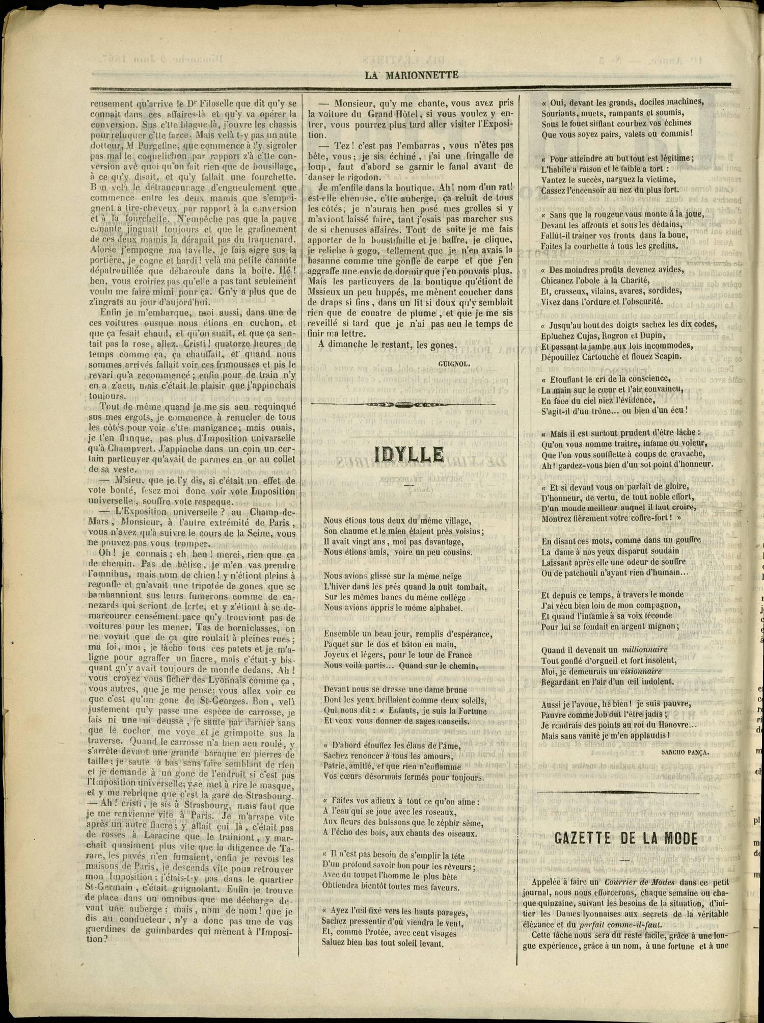 Contenu textuel de l'image : GAZETTE DE LA MODE