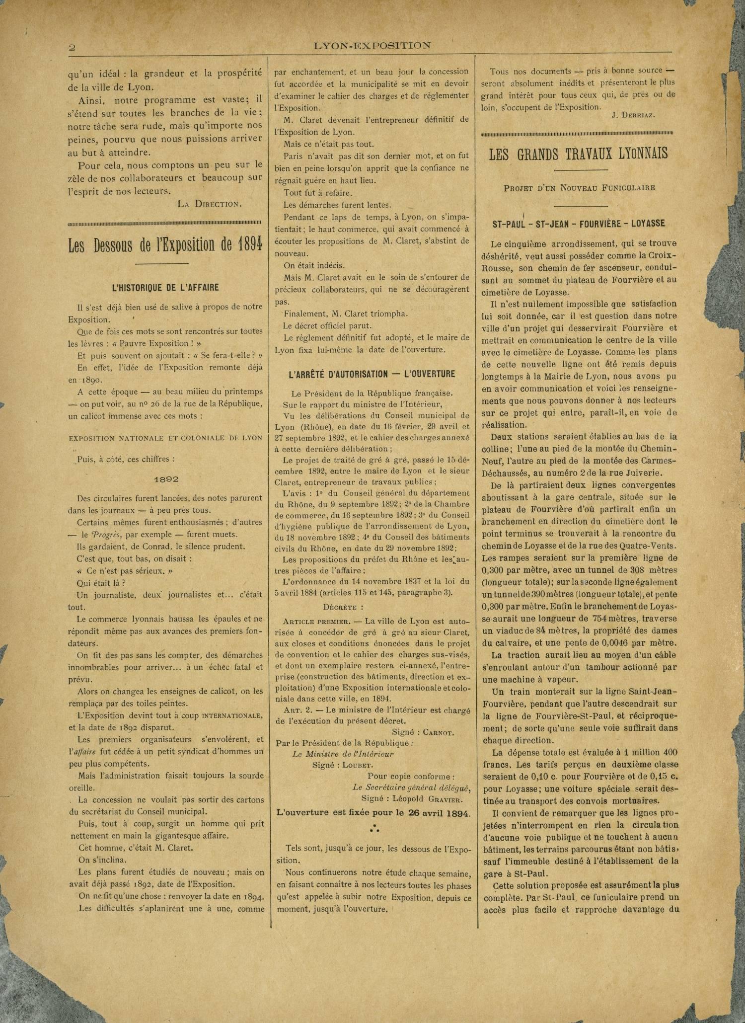 Contenu textuel de l'image : LES GRANDS TRAVAUX LYONNAIS