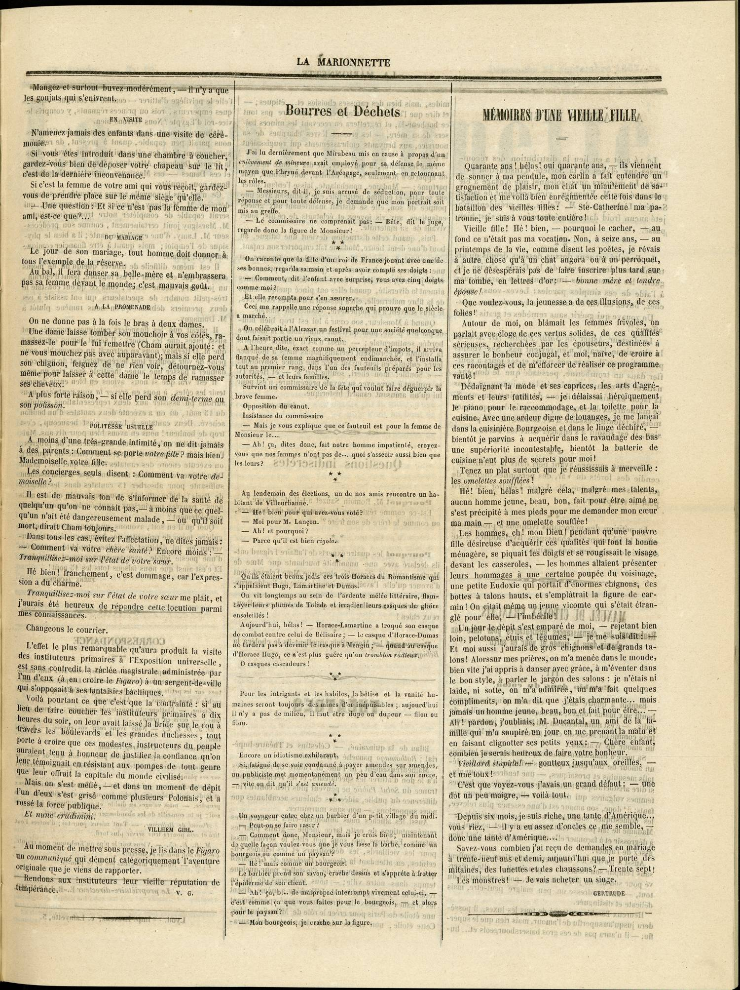 Contenu textuel de l'image : MÉMOIRES D'UNE VIEILLE FILLE