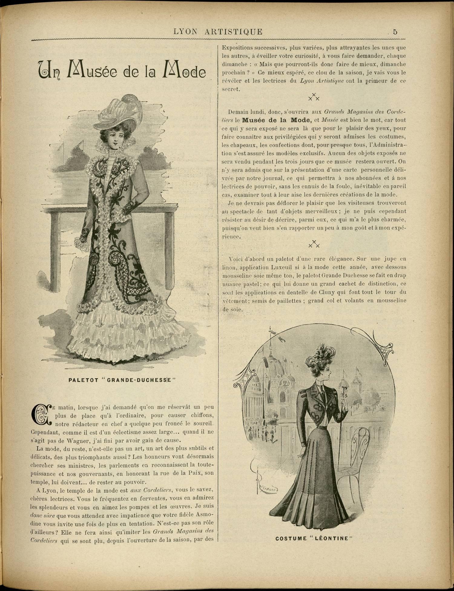 Contenu textuel de l'image : UN MUSEE DE LA MODE