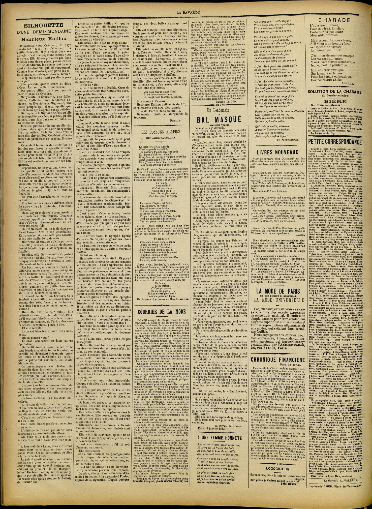 Contenu textuel de l'image : COURRIER DE LA MODE