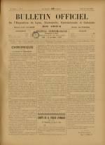 BULLETIN OFFICIEL DE L'EXPOSITION DE LYON, Première Année - N°9